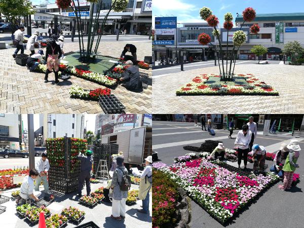 JR松本駅前の花飾り